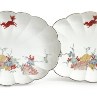 381. a pair of meissen 'eichhörnchen' pattern scalloped oval dishes circa1740