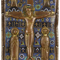 8. french, limoges,circa 1210-30, | champlevé enamel bookcover with thecrucifixion
