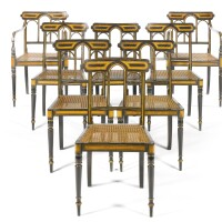 729. a set of eight george iii simulated macassar ebony and maple chairs, in the manner of john gee