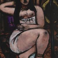 35. 馬克思・貝克曼 | 《斜躺的裸女,透視縮短角度》