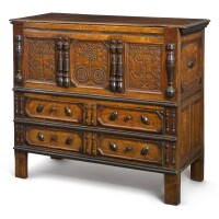 """2007. pilgrim century joined and carved oak and pine with turned maple """"sunflower"""" chest with two drawers, wethersfield, connecticut, circa 1680"""