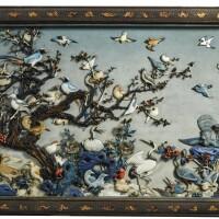 3709. 清十八世紀 紫檀嵌百寶百鳥朝凰掛屏