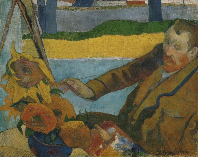 Gaugin's depiction of Van Gogh painting a blue vase filled with sunflowers.