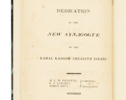 5. form of service at the dedication of the new synagogue of the kahal kadosh shearith israel, dov pique, new york: j. seymour, 1818