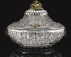 238. an ottoman silver repousséjewellery box with tughra of sultan abdulhamid ii (r.1876-1909), turkey, circa 1900