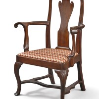 6007. very fine and rare queen anne carved walnut open armchair, philadelphia, circa 1750