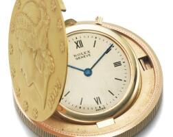 4. 勞力士(rolex) | 黃金二十美元錢幣懷錶,年份約1975。