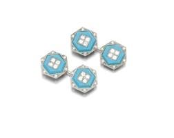 1. pair of turquoise and diamond cufflinks, cartier, circa 1920