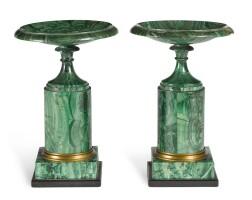 308. a pair of russian gilt-bronze mountedmalachite veneeredtazze circa 1830 |