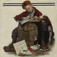 29. norman rockwell | little boy writing letter