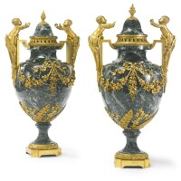 34. a large pair of louis xvi style gilt-bronze mounted patricia green marble urns france, late 19th century