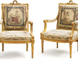 13. a louis xvi style giltwood salon suite, after a model of georges jacob, circa 1880 |