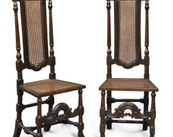 2004. pair of william and mary carved oak and caned side chairs, england, last quarter 17th century
