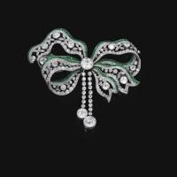 579. emerald and diamond brooch, circa 1900