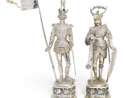 702. a pair of german silver figures of knights in armour, ludwig neresheimer & co, hanau, importer's mark of b.h. müller for berthold müller & son, london, 1913