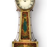 339. a federal brass mounted and englomise panel inset mahogany banjo clock, signed r.w. drown, early 19th century |