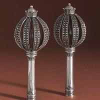 7. a pair of israeli silver torah finials, attributed to yehia yemini, jerusalemi, circa 1925 |