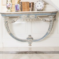 11. a pair of italian neoclassical blue and white-painted and carved console tables circa 1780