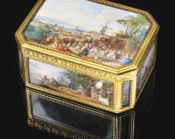 34. a gold cagework boîte à miniatures,pierre-françois drais, paris, 1767, the miniatures by louis-nicolas van blarenberghe, signed and dated 1767
