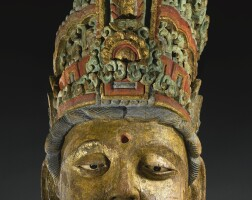113. a massive polychromed carved wood head of a bodhisattva song / jin dynasty