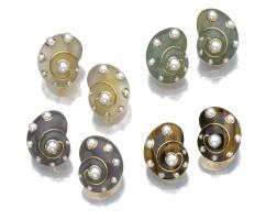40. four pairs of gem-set ear clips, verdura