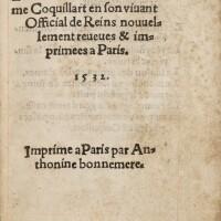 103. coquillart. les œuvres. anthoine bonnemère, 1532. petit in-8. maroquin vert (rel. attr. à padeloup).