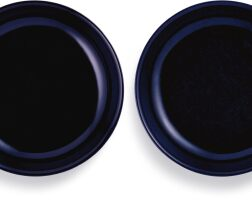 3608. a pair of sacrificial-blue glazed dishes incised marks and period of qianlong |