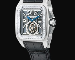 37. cartier | santos 100 flying tourbillon, reference 3231 a white gold and diamond-set tourbillon wristwatch, circa 2016