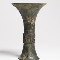 152. a bronze ritual wine vessel (gu) late shang dynasty, 13th-11th century bc