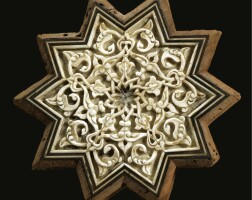 310. a fine and rare ottoman carved rosewood and ivory star panel, turkey, circa 1500