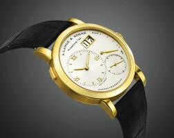 35. a. lange & söhne   lange 1a yellow gold wristwatch with date and power reserve indication circa 2002