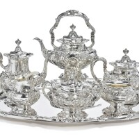 18. an american silver six-piece francis i pattern tea and coffee set with matching tray, reed & barton, taunton, ma, 1948 |
