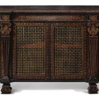 8. a regency penwork side cabinet, circa 1810