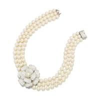 9106A. 鑽石配養殖珍珠項鏈