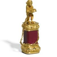 713. a miniature gold, purpurine and heliotrope desk seal, french or italian, circa 1845