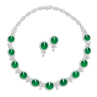 1749. jadeite and diamond demi-parure