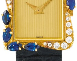 167. piaget   reference 41548 a yellow gold, diamond and sapphire-set wristwatch, made in 1991