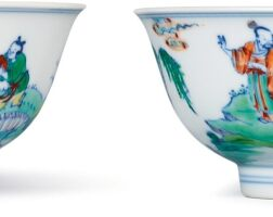 3611. a fine and rare pair of doucai 'figural' bowls marks and period of yongzheng |
