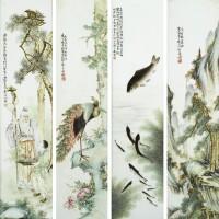 720. a set of four famille-rose plaques bywang qi, cheng yiting, deng bishan, and yu jiantian, republic period |