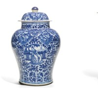 338. a blue and white four-piece 'european subject' garniture qing dynasty, kangxi period