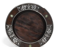 345. a fabergé gem-set silver and wood charger, moscow, 1908-1917