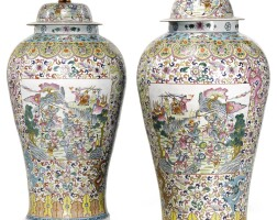 504. a pair of chinese famille-rose baluster jars and covers, 20th century |