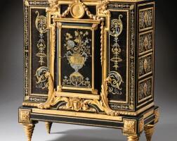 30. a louis xvi gilt-bronze mounted, ebony veneer, engraved brown tortoiseshell, brass and tin 'première partie' marquetry cabinet à hauteur d'appui, circa 1780, stamped e. levasseur  