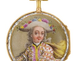 40. flournoy à paris   arare gold mounted single cased porcelainwatch with polychrome enamel painted portrait of a gentleman attributed to meissencirca 1750