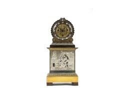 24. an interesting italian empire ormolu and silvered quarter striking mantel clock, dated 1824