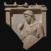 14. a fragmentary greek marble grave stele inscribed for hedeia, attic, circa 375-350 b.c. | a fragmentary greek marble grave stele inscribed for hedeia, attic