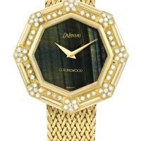 43. delaneau | a yellow gold and diamond-set bracelet watch with tiger's eye dial, retailed by collingwood, circa 1980