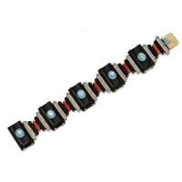 131. white and rose gold, gemstone and diamond bracelet