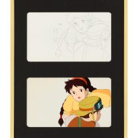 1027. castle in the sky by studio ghibli   sheeta and pazu animation cel and sketch (two works)