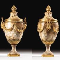 13. a pair of large gilt-bronze mounted oriental alabaster vases, louis xvi |